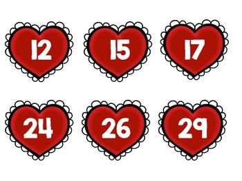 Heart Themed Two Digit Number Task Cards in English and Spanish