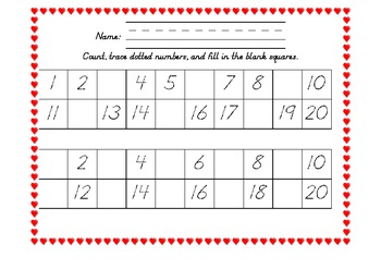 Heart Themes 1-20 Number Grids