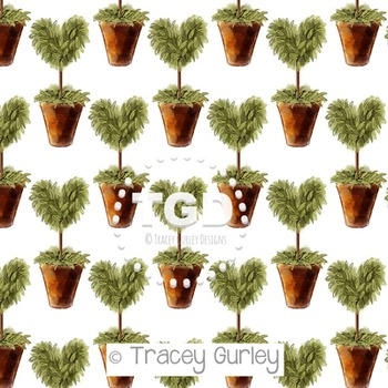Heart Topiary on White digital paper Printable Tracey Gurley Designs