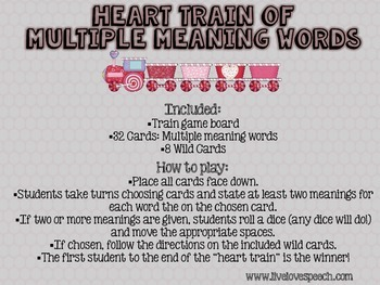 Heart Train of Multiple Meaning Words {FREEBIE}