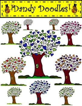 Heart Trees Clip Art by Dandy Doodles