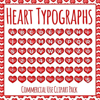 Heart Typographs - Letters / Tiles / Characters Clip Art Set Commercial Use