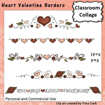 Heart Valentine Borders Clip Art - color - personal & commercial use