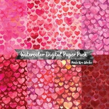 Heart Watercolor Digital Paper