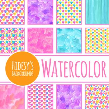 Heart Watercolor Handpainted Backgrounds / Digital Papers Clip Art Set
