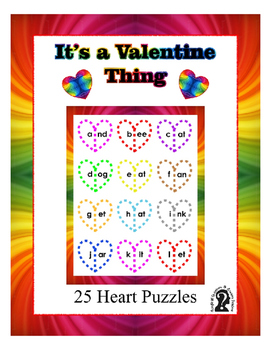 Heart Word Puzzles for Valentine's Day ~ 25 words with extra blank hearts