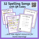 Heart Word Spelling Songs with QR Codes PLUS Distance Lear