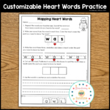 Heart Words Mapping Customizable Worksheets