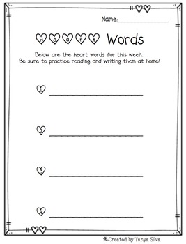 Heart Words (Sight Words) For the Week