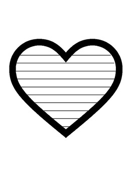 Heart Writing Paper Heart Template With Lines Heart Paper Valentines Day Paper