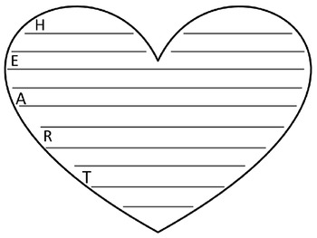 Heart Writing Template Two by Krissy Smith | Teachers Pay Teachers