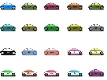 Heart and Car kindergarten site words