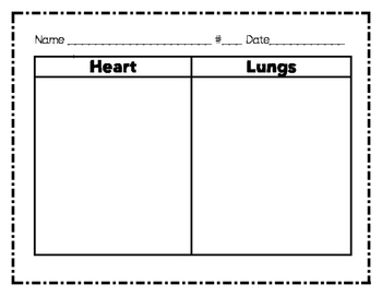 Heart and Lungs Graphic Organizers