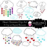 Heart and Showers Rainbow Cloud Digital Clip Art Elements