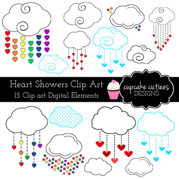 Heart and Showers Rainbow Cloud Digital Clip Art Elements