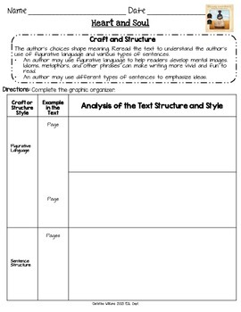 Heart and Soul Graphic Organizers Lesson 10 Readygen 5th grade  Differentiated
