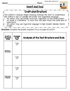 Heart and Soul Graphic Organizers Lesson 8 Readygen 5th grade  Differentiated