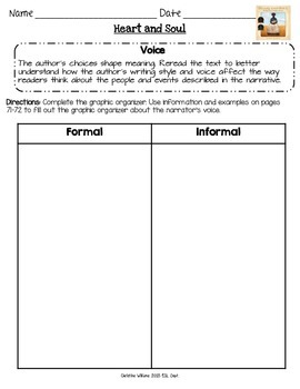 Heart and Soul Graphic Organizers Lesson 9 Readygen 5th grade  Differentiated