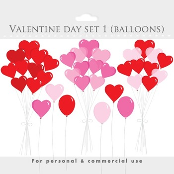 Heart balloons clipart - Valenine clip a, romantic, love, romance, pink, red