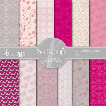 Heart digital paper, commercial use, scrapbook papers, background - PS545