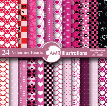 Digital Papers, Heart digital papers, Valentines Day Digital paper, AMB-323