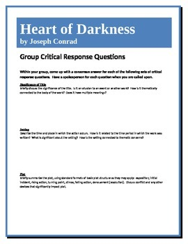 Heart of Darkness - Conrad - Group Critical Response Questions