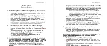 Heart of Darkness Reading Questions and Answers