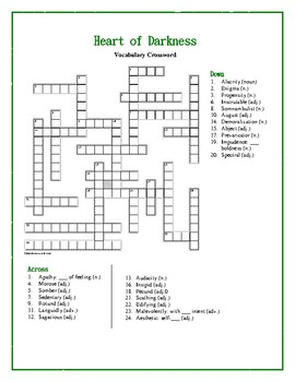 Heart of Darkness: Vocabulary Crossword—Use with Bookmarks Plus!