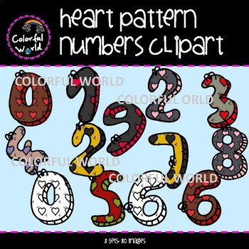 Heart pattern numbers clipart