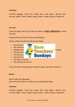 Heart rate science investigations (2 lessons) Lesson plans, Prompts & More ...