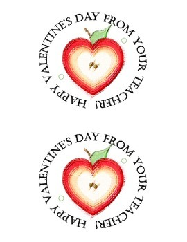 Heart-shaped apple pencil holder valentines for students