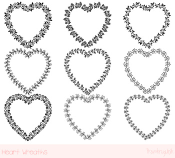 Heart shaped frames clipart set, Black  Valentine borders clip art, Love wreaths