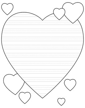 Heart shaped writing paper for valentine 39 s day primary for Heart shaped writing template