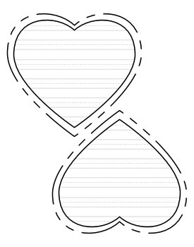 Heart-shaped writing paper for Valentine\'s day - primary lines - FREE!!