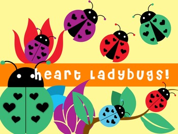 Heart spotted ladybugs - for commercial and personal use - 30 graphics!