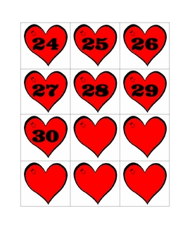 Heart themed number cards