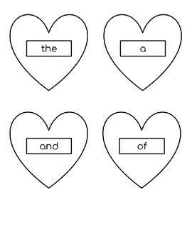 Heart themed sight word memory game