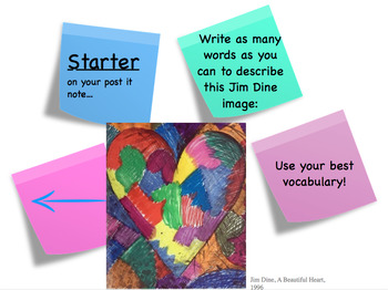 Heart themed valentines art lesson with Jim Dine link