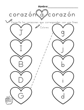 Heart to Heart: Match Upper and Lower Case Letters