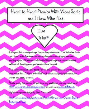 Heart to Heart Phonics With Word Sorts and I Have Who Has