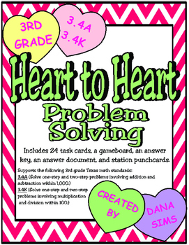 Heart to Heart Problem Solving: 3rd Grade Texas Math 3.4A 3.4K STAAR Practice