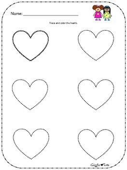 Heart trace and color sheet FREE