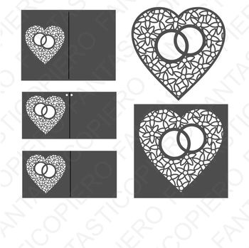 Heart with wedding rings SVG files for Silhouette Cameo and Cricut.