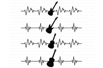 Heartbeat Electric & Acoustic Guitar SVG files, Cardiogram Guitar Clipart