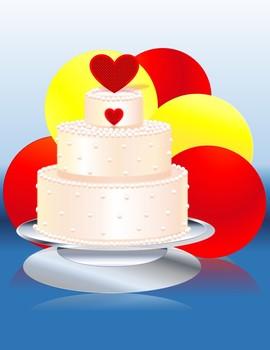 Hearted Cake illustration by Carol Lee Brunk