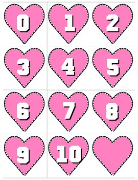 Hearts 0-10 Number Cards