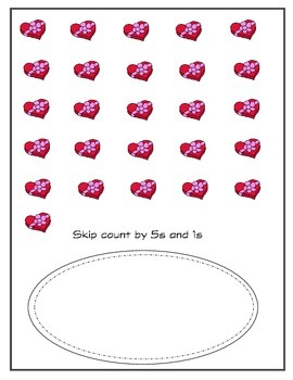 Hearts 5s and 1s Skip Counting