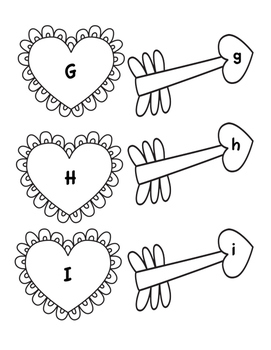 Hearts Arrows Uppercase Lowercase Letter Match