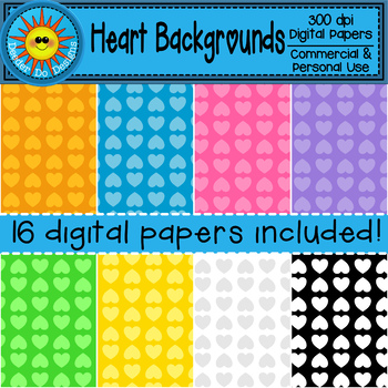 Hearts Backgrounds / Digital Papers (monochromatic)