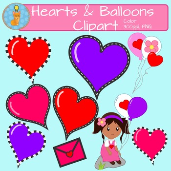 Hearts & Balloons Clipart FREEBIE